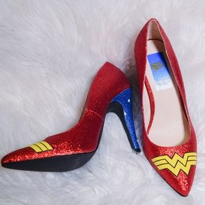 Red Heels Wonder Woman Glitter Heels Brand New